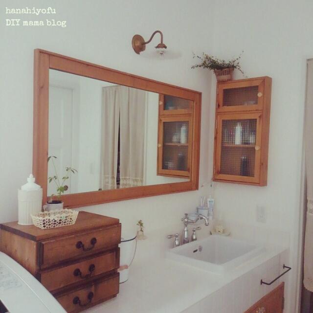 Bathroom,洗面所,カルフォルニア,大きな鏡,ブラケットライト,フレンチ工房神戸,たくさんのいいね感謝です♡ ,200いいね!うれしいです♡ のインテリア実例 | RoomClip (ルームクリップ)