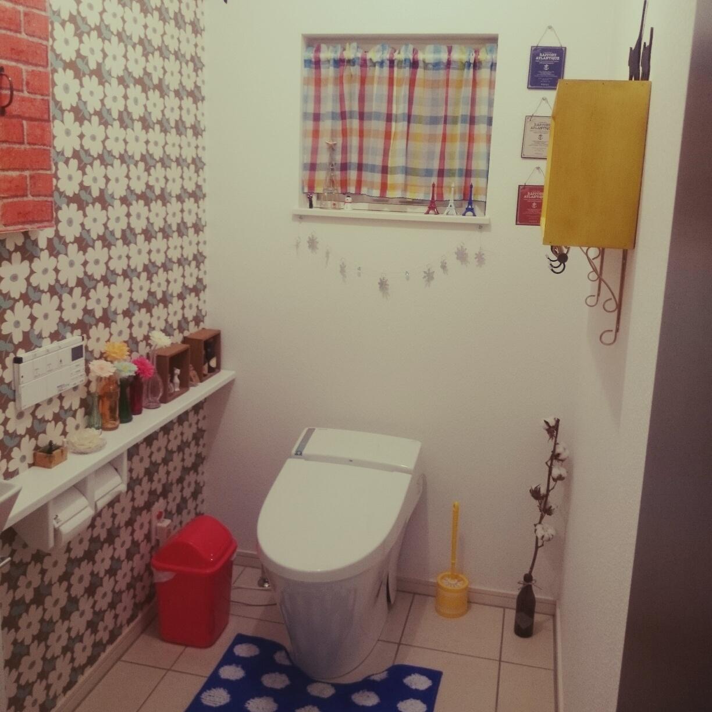 女性で、3LDK、家族住まいのRC青森支部/アクセントウォール/セリア/バス/トイレについてのインテリア実例を紹介。