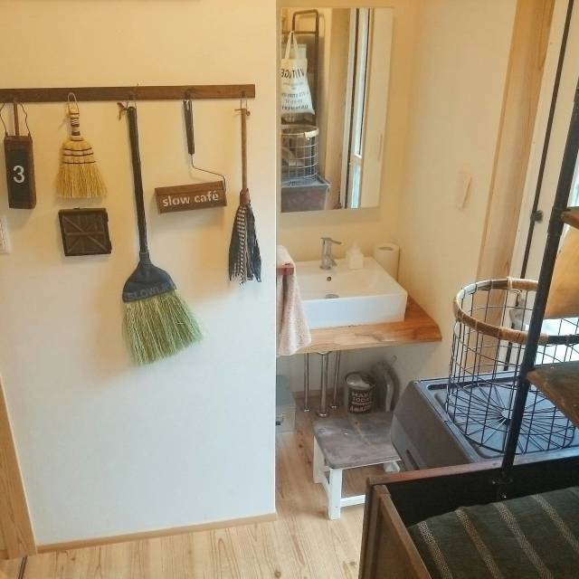 Bathroom,洗面所,見せる収納,収納アイデア,インスタ→slow.life.worksのインテリア実例   RoomClip (ルームクリップ)