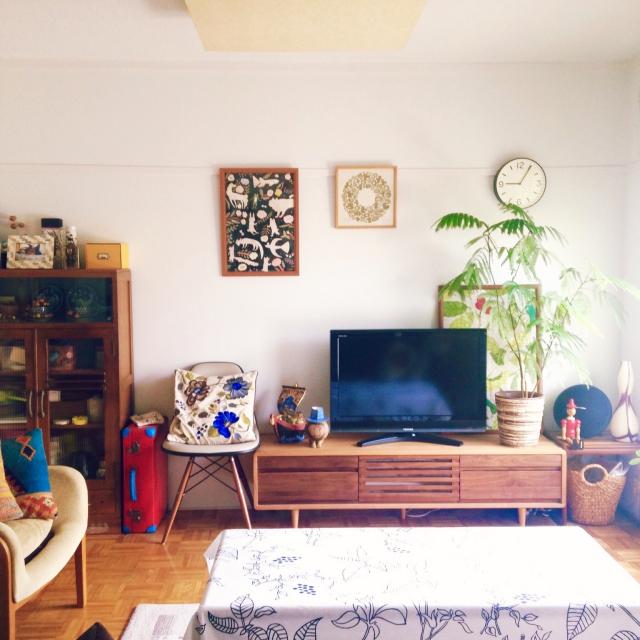 Overview,観葉植物,トランク,団地,テレビボード,シェルチェア,SCOPE,和家具,日進木工,シンデレラフィットのインテリア実例 | RoomClip (ルームクリップ)
