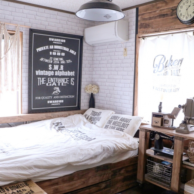 Bedroom,DIY,布団カバー,モダン,布団,インダストリアル,壁紙屋本舗,男前,セルフリノベーション,男前インテリア,アメブロやってます♪,Swaro109 vintage,ベーカリーシリーズ,インダストリアルモダン,インダストリアルモダンアーキテクチャのインテリア実例 | RoomClip (ルームクリップ)