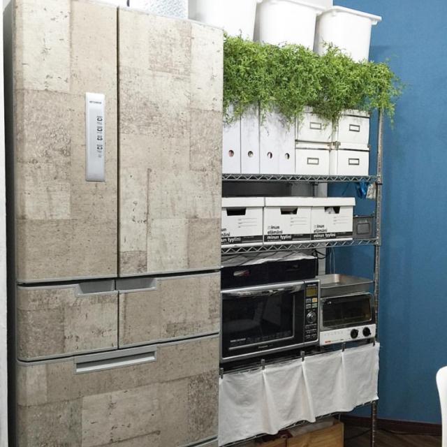 Kitchen,冷蔵庫,DIY,フェイクグリーン,中古住宅,壁紙屋本舗,いなざうるす屋さん,三菱,冷蔵庫リメイク,MITSUBISHI,関西好きやねん会,植物のある暮らし,ZOO会♡,スッキリ爽やかインテリア,グリーンと暮らす心地よい部屋,MITSUBISHI冷蔵庫,冷蔵庫に壁紙をはってみました♡のインテリア実例   RoomClip (ルームクリップ)