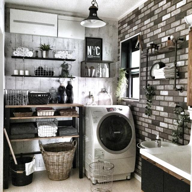 Bathroom,IKEA,DIY,サニタリー,バスケット,インダストリアル,見せる収納,男前,セルフリノベーション,タオルラックDIY,アメブロやってます♡,おはよぅございます♡のインテリア実例 | RoomClip (ルームクリップ)