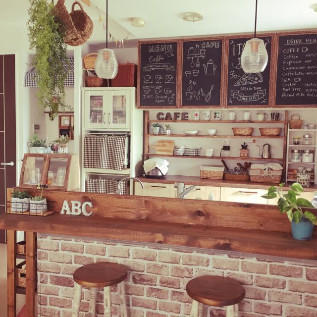 グリーンで癒しの空間に☆グリーン×カフェ風キッチン