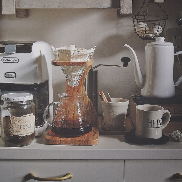 DeLonghi,コーヒー,HARIO,月兎印,琺瑯ケトル,TODAY'S SPECIAL マグ,teatimeのインテリア実例 | RoomClip (ルームクリップ)