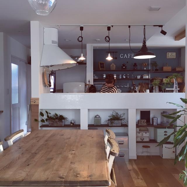Overview,キッチン周り,タイルキッチン,ダイニングテーブル&チェア,おはようございます+*。,いいね&フォローありがとうございます♡のインテリア実例 | RoomClip (ルームクリップ)