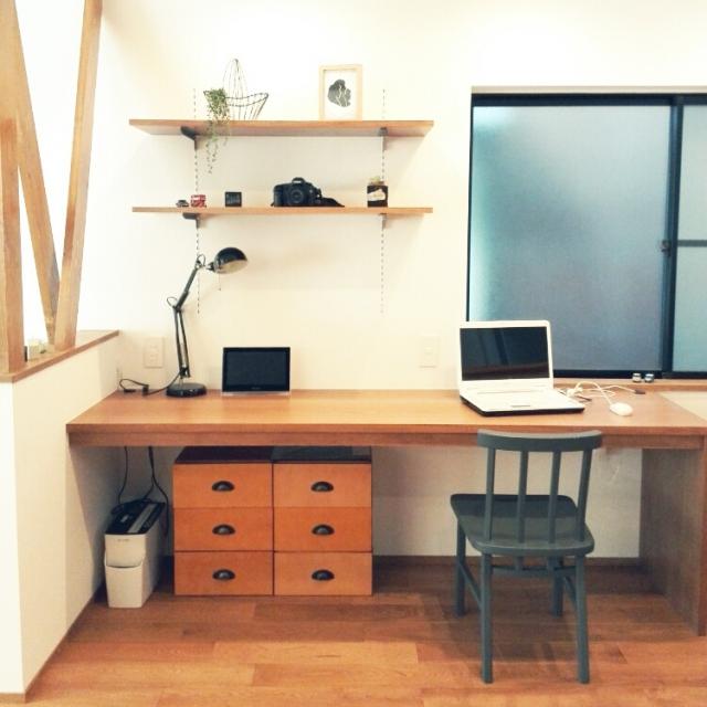 無印良品,多肉植物,ニトリ,IKEA照明,中古住宅,IKEAフレーム,元和室,こどもと暮らす。,アネストワン,EOS5D,造作デスクのインテリア実例 | RoomClip (ルームクリップ)