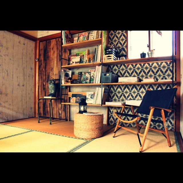 女性で、Other、家族住まいの和室/セルフリフォーム/図書音楽室/手作り家具/壁/天井についてのインテリア実例を紹介。