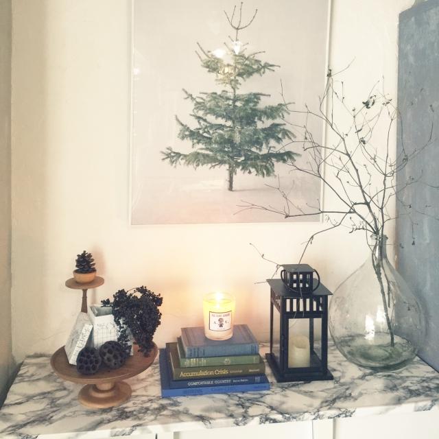 My Shelf,デミジョンガラスボトル,IKEAランタン,実物,アンティークの洋書,ドウダンツツジの枝,アクタスの木製コンポート,アスティエ・ド・ヴィラットのキャンドル,bastisRIKEのもみの木ポスターのインテリア実例 | RoomClip (ルームクリップ)