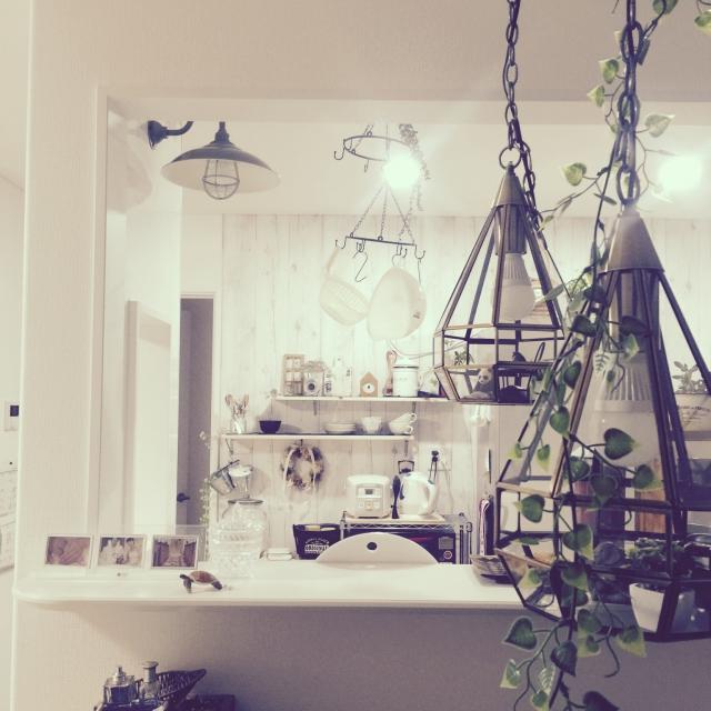 Kitchen,照明,ナチュラル,100均,DIY,カフェ風,セリアのインテリア実例 | RoomClip (ルームクリップ)
