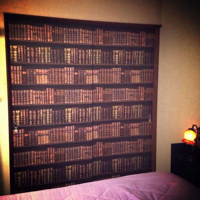 だまし絵風の遊び心が楽しい♪本棚柄の壁紙でリメイク