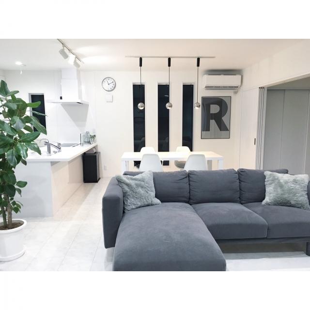 モダンな家具にぴったり☆リビングにアートと観葉植物を