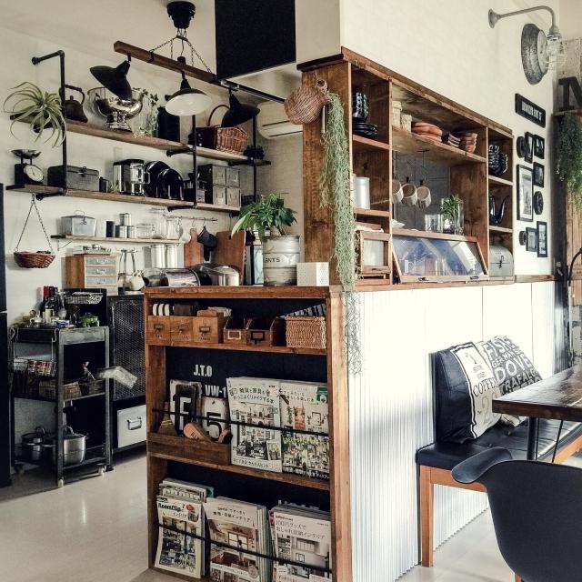 My Shelf,DIY,インダストリアル,男前,セルフリノベーション,アメブロやってます♡,そろそろ夕飯の支度を…のインテリア実例 | RoomClip (ルームクリップ)