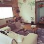 Lounge/IKEA/DIY/ニトリ/小物入れ/セリア/3Coins/空き瓶/100円ショップ/手づくり雑貨/観葉植物♡/しまむらのトイレマット/手作りテレビボードに関連する部屋のインテリア実例