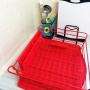 女性で、3LDK、家族住まいのカラフル/赤/水切り/ラクール/NEW/水切りかご…などについてのインテリア実例を紹介。