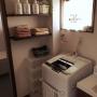 Bathroom/ナチュラル/グリーン/カフェ風/タオル収納/セリア/モノトーン/洗濯機/ステンシル/いなざうるす屋さん/カーテン 手作り/mon・o・tone/日立に関連する部屋のインテリア実例