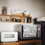 Kitchen/無印良品/マリメッコ/トースター/シンプル/ミナペルホネン/壁に付けられる家具/ムーミンマグ/BALMUDA/バルミューダ/mina perhonen/仔犬印ティーポット/シンプルインテリア/仔犬印/circuscoffee/バルミューダ トースター/BALMUDA The Toasterに関連する部屋のインテリア実例