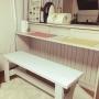 Kitchen/DIY/ベンチ/カウンターキッチン/ホワイト/木目調/ニッセン/コーナンに関連する部屋のインテリア実例