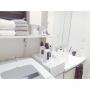 Bathroom/IKEA/洗面所/収納/DIY/ホワイトインテリア/洗濯機/シャビーシック/ホワイトに関連する部屋のインテリア実例
