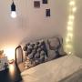 Bedroom/無印良品/ベッド/間接照明/一人暮らし/Francfranc/ニトリ/ウォールデコ/ひとり暮らし/ニッセンのベッド/外国のインテリアに憧れてに関連する部屋のインテリア実例