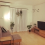 Lounge/無印良品/IKEA/ライト/グリーン/モビール/ニトリ/ウンベラータ/中古住宅/プラントハンガー/unico ソファ/こどもと暮らす。に関連する部屋のインテリア実例
