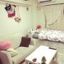 Overview/IKEA/一人暮らし/ディズニー/salut!/ソファーベッド/収納付きベッド/ニッセン/1k 1人暮らし女性に関連する部屋のインテリア実例