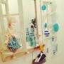 Bathroom/ロクシタン/セリアの雑貨/ナチュラルキッチンの雑貨/ナチュラルキッチン/窓枠風ミラー/マリンディスプレイに関連する部屋のインテリア実例