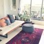 Lounge/観葉植物/IKEA/ソファ/ニトリ/ペルシャ絨毯/フェイクグリーン/ベランダガーデン/オットマン/広松木工/DIY棚/ビンテージラグ/アンビエントラウンジ/アンビエントラウンジジャパンに関連する部屋のインテリア実例