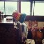 My Desk/ハンドメイド/小引き出し/ちゃぶ台/ボタン/ビーズ/昭和レトロ/古い家/ライトスタンド/フライングタイガーコペンハーゲン/アンバー食器/築60〜70年に関連する部屋のインテリア実例
