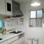 Kitchen/ニトリ/キャンドゥ/300coins/タイルシール/壁紙DIY/カントリー風/いつも、いいね!をありがとうございます♡/せりあ♡/白のチカラ/イケアの照明に関連する部屋のインテリア実例