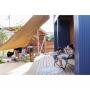 Entrance/庭/ウッドデッキ/アウトドア/外構/南国風/楽天で買ったもの/アウトドアリビング/BESSの家/タープ/植物のある暮らし/こどもと暮らす。に関連する部屋のインテリア実例