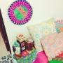 Bedroom/雑貨/一人暮らし/刺繍/チチカカ/フライングタイガーコペンハーゲン/カラフル大好き♡/ランタン大好き♡に関連する部屋のインテリア実例
