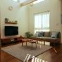 Lounge/無印良品/北欧/北欧インテリア/吹き抜けリビング/イベント用/unico TVボード/無印良品 壁に付けられる家具/unico ソファ/unico /こどもと暮らす。/定点観測/キルティングラグに関連する部屋のインテリア実例