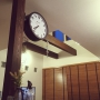 Lounge/ナチュラル/カフェ風/吹き抜け/ガラスブロック/ウッドブラインド/ダルトン/エアプランツ/ヒトデ/西海岸/化粧梁/西海岸インテリアに関連する部屋のインテリア実例