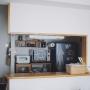 Kitchen/無印良品/モビール/かご/シンプル/キッチンカウンター/賃貸/壁に付けられる家具/BALMUDA/かご収納/賃貸マンション/バルミューダ/シンプルインテリア/バルミューダ トースターに関連する部屋のインテリア実例