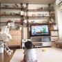 Lounge/観葉植物/IKEA/雑貨/DIY/ニトリ/セリア/かざり棚/こどもと暮らす。/ディアウォール DIYに関連する部屋のインテリア実例