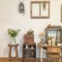Lounge/ナチュラル/雑貨/ドライフラワー/ナチュラルインテリア/おうち/antique/ミントに関連する部屋のインテリア実例