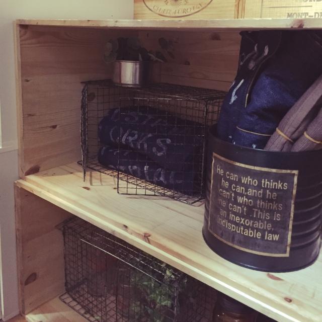 大き目リメ缶を収納に再利用
