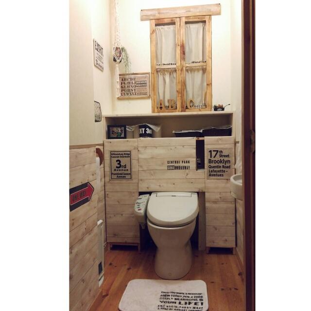 トイレタンクを壁紙で隠す!