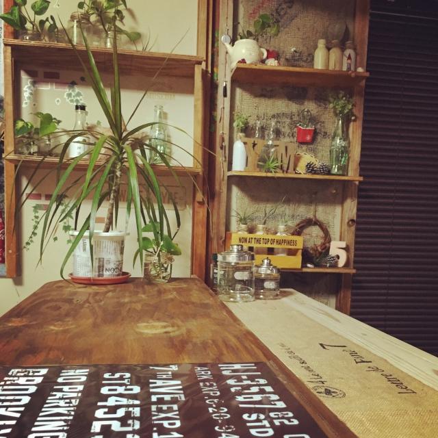 カウンターや棚に観葉植物