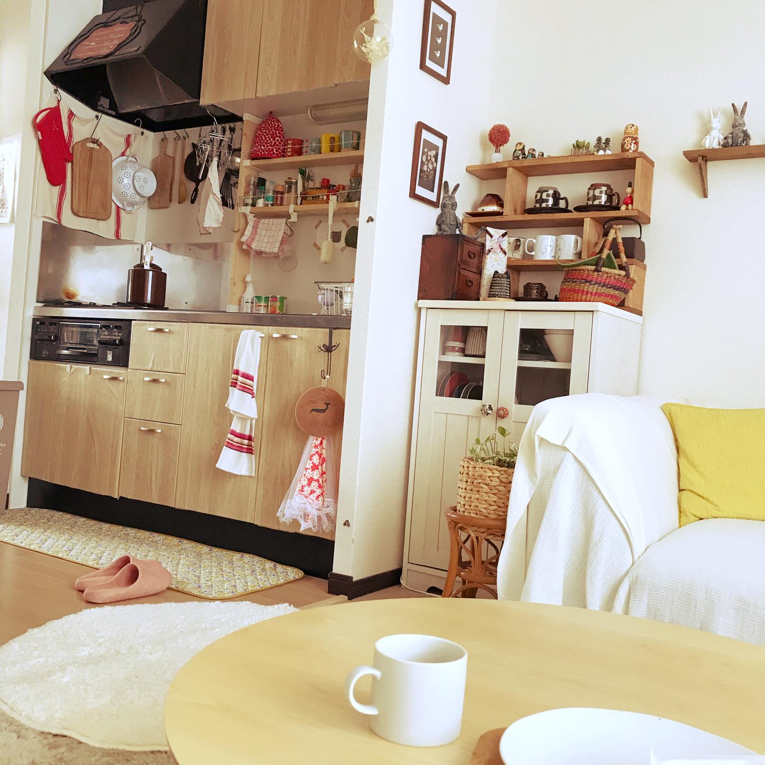 ポストカードディスプレイ/掛ける収納/狭いキッチン/賃貸でも楽しく♪/ふたり暮らし...などのインテリア実例 - 2021-04-23 08:52:19