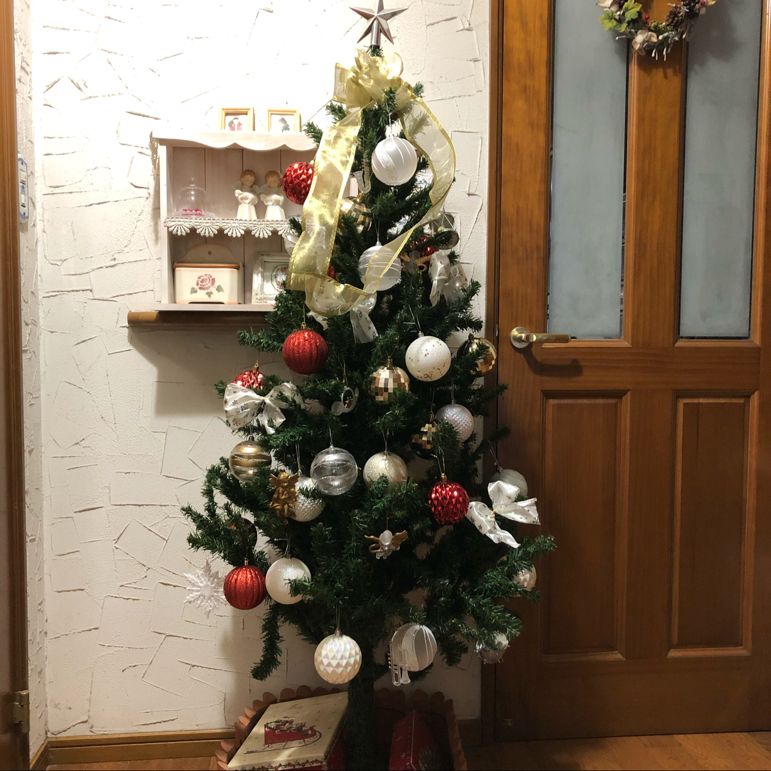 クリスマスリース/クリスマス2020/クリスマスツリー150cm/DAISO雑貨/部屋全体のインテリア実例 - 2020-12-03 21:58:19