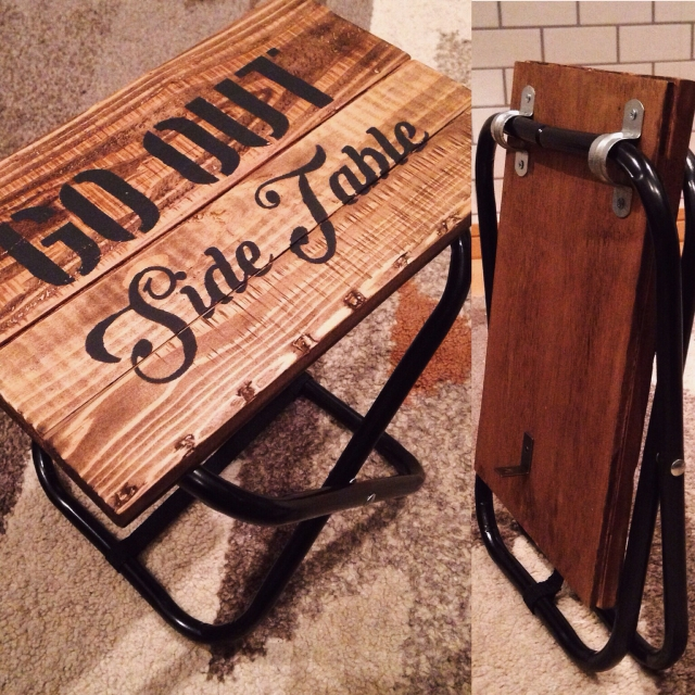 100均折り畳み椅子にステンシル