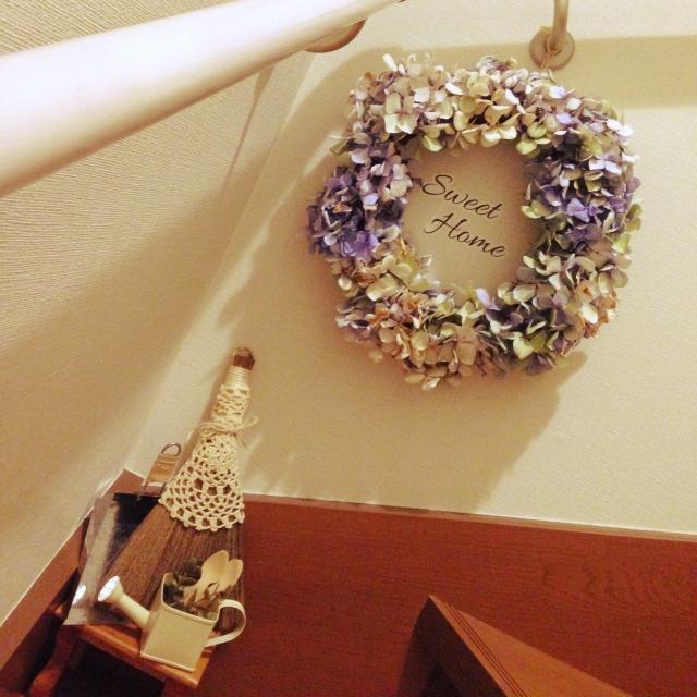 優しいドライ紫陽花を使って…
