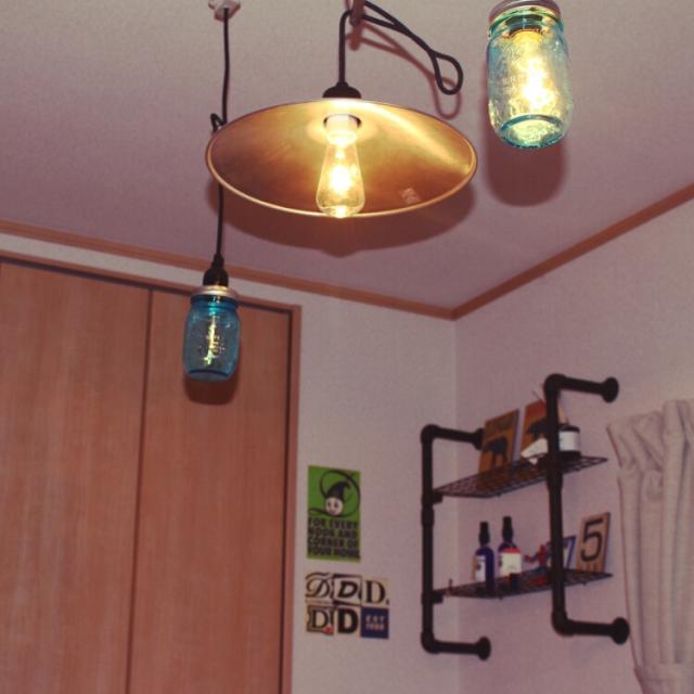 レトロな照明を合わせて使う