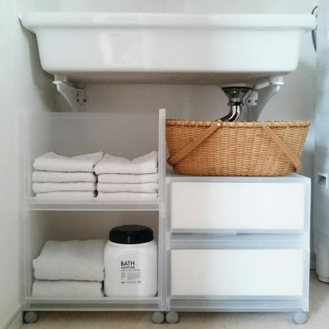 洗面台のこまごま収納に!無印良品のPPケース&ボックス