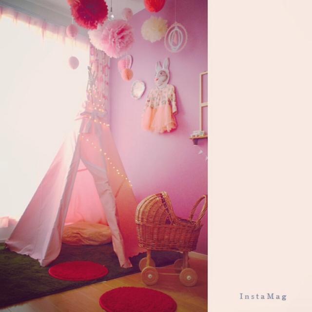 ピンクのティピーで姫部屋
