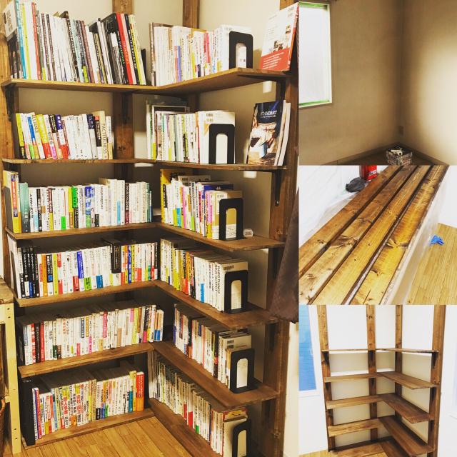 壁面を利用して作りやすく♪お部屋に合わせて本棚をDIY