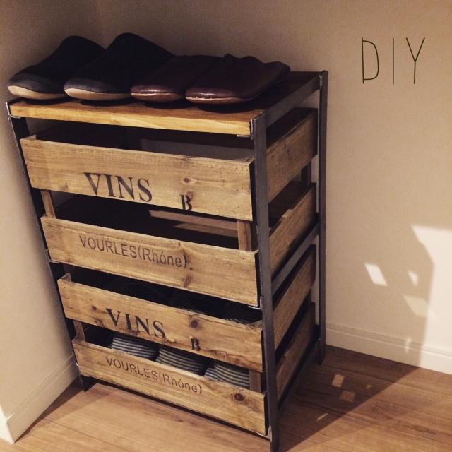 木箱の引き出し式スリッパ収納ボックス