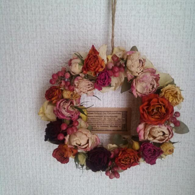 カラフル薔薇リース